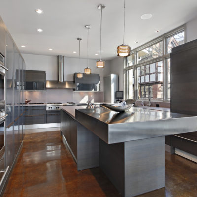 Ultra modern kitchen with stainless steel island